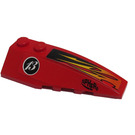 LEGO Red Wedge 2 x 6 Double Right with Orange and Black Flames, Black 'SPHERE' and White '13' Sticker