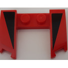LEGO Red Wedge 3 x 4 x 0.6 with Cutout with Black Triangle Pattern Sticker