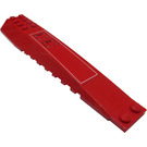 LEGO Red Wedge 4 x 16 Triple Curved with White Rectangle and Flaps Sticker