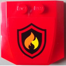 LEGO Red Wedge 4 x 4 x 0.66 Curved with Sticker from Set 60004