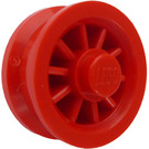 LEGO Red Wheel With Spokes and Metal Pin on back