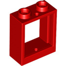 LEGO Red Window 1 x 2 x 2 without Sill (60592)