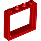 LEGO Red Window 1 x 4 x 3 without Shutter Tabs (60594)