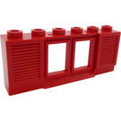 LEGO Red Window 1 x 6 x 2 with Shutters (Old Type) Extended Lip with Glass