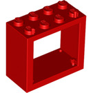 LEGO Red Window 2 x 4 x 3 with Rounded Holes (4132)
