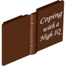 """LEGO Reddish Brown Book 2 x 3 with """"Coping with a High IQ"""" Decoration (20899)"""