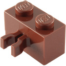LEGO Reddish Brown Brick 1 x 2 with Vertical Clip (Gap in Clip) (30237)