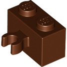 LEGO Reddish Brown Brick 1 x 2 with Vertical Clip (thick open 'O' clip) (30237 / 95820)