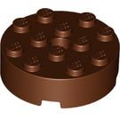 LEGO Reddish Brown Brick 4 x 4 Round with Pinhole and Snapstud (87081)