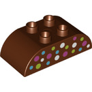LEGO Duplo Brick 2 x 4 with Curved Sides with Blue, White, Green and Pink Spots (37193)