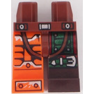 LEGO Reddish Brown Hips and 1 Dark Brown Left Leg,1 Orange Right Leg with decoration.