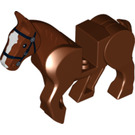 LEGO Reddish Brown Horse with Moveable Legs and Black Bridle and White Face Front (10509)