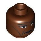 LEGO Reddish Brown Mace Windu, Clone Wars with Large Eyes Head (Safety Stud) (85555)
