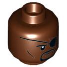 LEGO Reddish Brown Nick Fury Plain Head (Recessed Solid Stud) (50781)