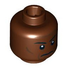LEGO Reddish Brown Plain Head with Decoration (Safety Stud) (89777)