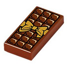 LEGO Reddish Brown Tile 1 x 2 with Chocolate Bar Decoration with Groove (25395)