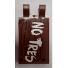 """LEGO Reddish Brown Tile 2 x 3 with Horizontal Clips with """"No Tres"""" on Wood Effect Background Sticker ('U' Clips)"""