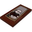 LEGO Reddish Brown Tile 2 x 4 with Bank Executive Portrait Sticker