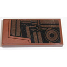 LEGO Reddish Brown Tile 2 x 4 with Brown Mechanical Parts (Right) Sticker