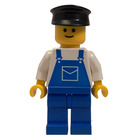 LEGO Refuse Collector with Blue Overalls, White Shirt, Blue Legs, Basic Smile Pattern and Black Hat Minifigure