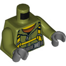 LEGO Rescue Worker with Hard Hat, Breathing Tank, and Air Hose Minifig Torso (973 / 76382)