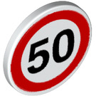 LEGO Roadsign Clip-on 2 x 2 Round with '50' Speed Limit (30261 / 83388)