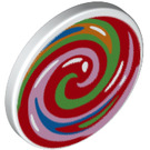 LEGO Roadsign Clip-on 2 x 2 Round with Swirl lolipop (30261 / 67078)