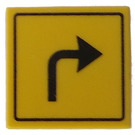 LEGO Roadsign Clip-on 2 x 2 Square with Arrow 'Turn Right' Pattern with Type 1 Clip (15210)