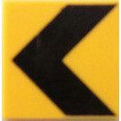 LEGO Roadsign Clip-on 2 x 2 Square with Black Chevron with Type 1 Clip (15210)
