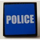 LEGO Roadsign Clip-on 2 x 2 Square with Police Sticker with Type 1 Clip (15210)