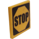 LEGO Roadsign Clip-on 2 x 2 Square with Stop Sign Sticker with Type 1 Clip (15210)
