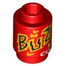 """LEGO Rond Brique 1 x 1 avec """"Buzz Cola"""" Décoration avec goujon ouvert (3062 / 21614)"""
