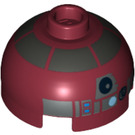 LEGO Round Brick 2 x 2 Dome Top (Undetermined Stud) with Silver Band and Blue Dot and Red and Blue Buttons (13314)