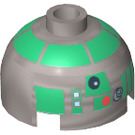 LEGO Round Brick  2 x 2 Dome Top with Green R3-D5 Printing (10558)