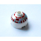 LEGO Round Brick 2 x 2 Dome Top with Silver and Red R5-D4 Printing (83730)