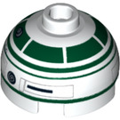 LEGO Round Brick 2 x 2 with Dome Top with Decoration (Hollow Stud with Bottom Axle Holder x Shape + Orientation) (16707)