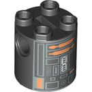 LEGO Round Brick 2 x 2 x 2 with Gray, Orange, Black, and White Astromech Droid Pattern (Undetermined) (55440)