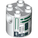 LEGO Round Brick 2 x 2 x 2 with Green, Gray, and Black Astromech Droid Pattern (Undetermined) (88789)