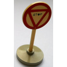 LEGO Round Road Sign with STOP in red bordered triangle pattern with base Type 2