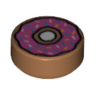 LEGO Round Tile 1 x 1 with Groove with Donut Decoration (16887)