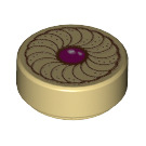 LEGO Round Tile 1 x 1 with Groove with Jam Cookie Decoration (25462)