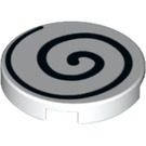 LEGO Round Tile 2 x 2 with Black Spiral with Bottom Stud Holder (14769 / 37006)