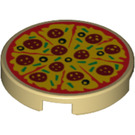 LEGO Round Tile 2 x 2 with Pizza Decoration with Bottom Stud Holder (29629)