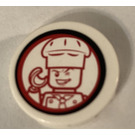 LEGO Round Tile 2 x 2 with winking chef Sticker (4150)