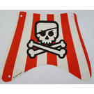 LEGO Sail White and Red stripes, with skull and crossbones, eyepatch, Fabric Part