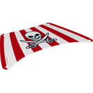 LEGO Sail with Skull with Crossed Cutlasses and Red Stripes (220 x 140 mm) (19941)
