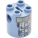 LEGO Sand Blue Cylinder 2 x 2 x 2 Robot Body with Decoration (Undetermined)