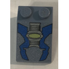 LEGO Sand Blue Slope 33° 3 x 2 with Life On Mars Gray Machinery with Blue Pattern with Rough Surface