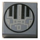 LEGO Sand Blue Tile 1 x 1 with TIE Fighter Hatch with Groove