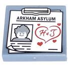 LEGO Sand Blue Tile 2 x 2 with Arkham Asylum Decoration with Groove (29907)